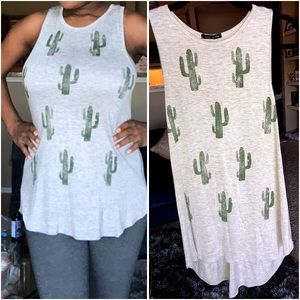 SWEET CLAIRE | Soft Cactus Print Tank Top